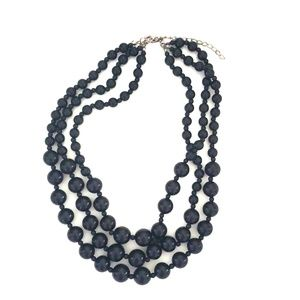 Three layer Black beaded necklace